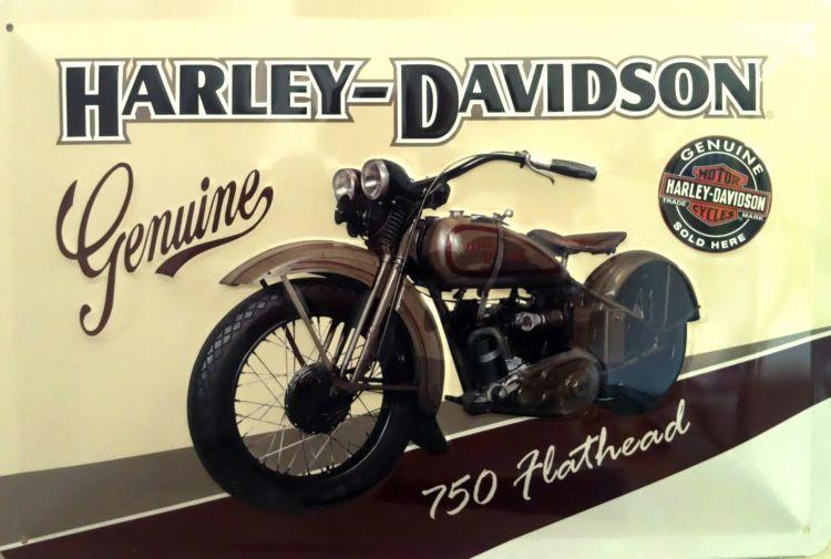 harley davidson genuine flathead blechschild. Black Bedroom Furniture Sets. Home Design Ideas